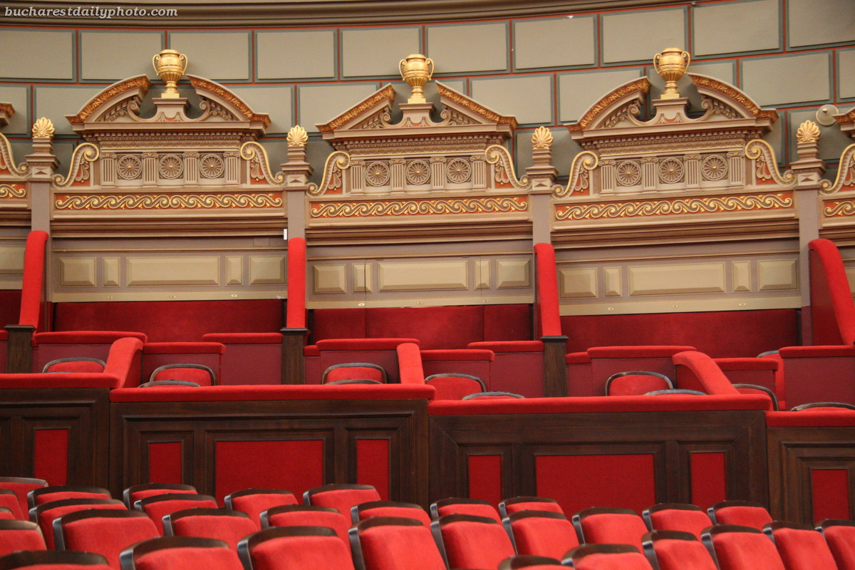 Romanian Athenaeum seating, fit for imaginary kings and queens. Photo bucharestdailyphoto.com