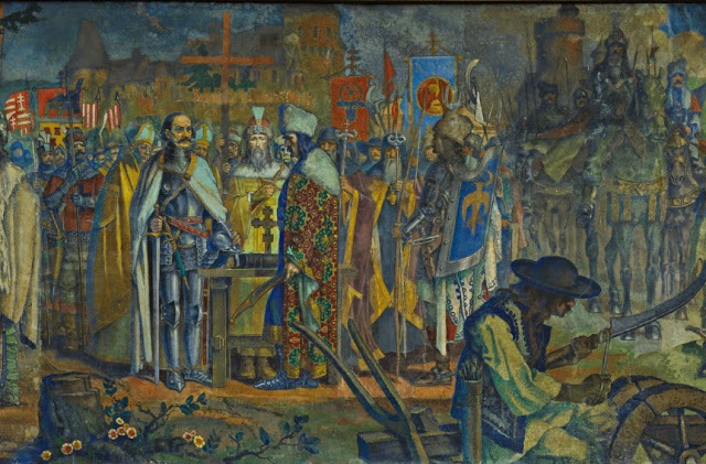 "10. The Romanian Crusade against the Turks. Depicted are Iancu of Hunedoara, Vlad II ""The Devil"" (father of Vlad Ţepeș) and Stefan the Great."