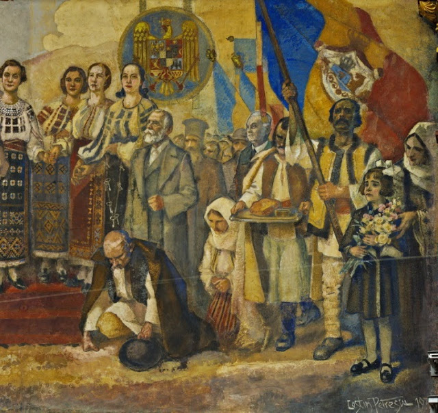 This image of Romanians celebrating together (a communist concept) covered King Carol II and King Michael